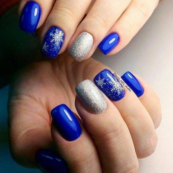 Adorable Blue & Silver Party Nails