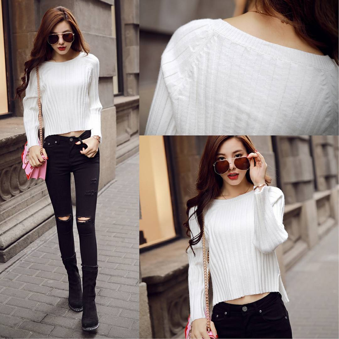 Adorable White Long Sleeve Short Sweater With Black Ripped Jeans, Pink Crossbody Bag And Suede Shoes