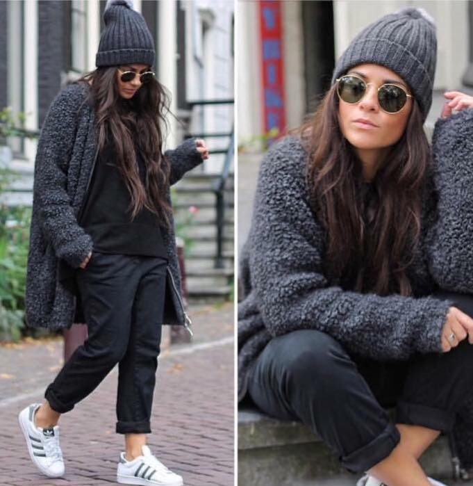 Adorably Stylish Grey Cardigan, Black Top With Crop Jeans, Cap And Shoes