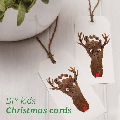 Adoring Foot Print Reindeer Christmas Card