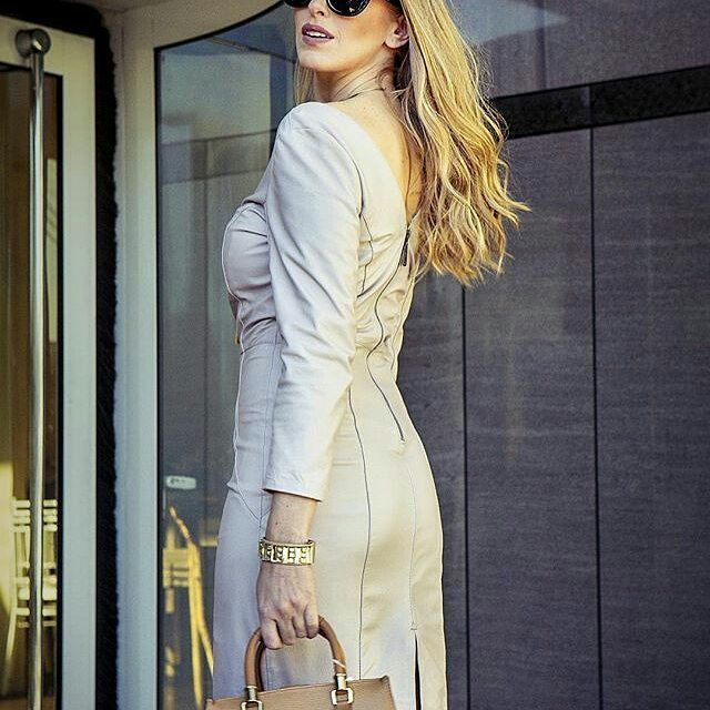 Alluring Full Sleeves Leather Dress With Back Slit And Zip