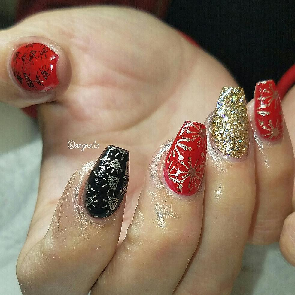 Alluring Red, Black & Golden Party Nails