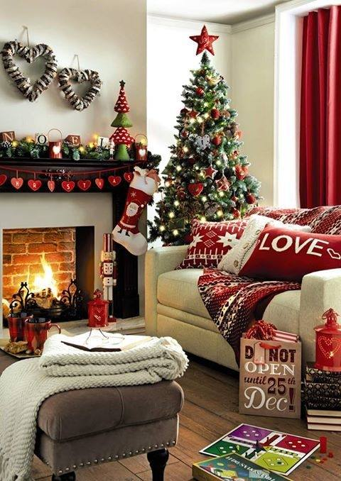 Alluring Red Heart Shape Garland, Wreath And Christmas Ornaments With Red Pillow Covers Perfect For Living Room Decor