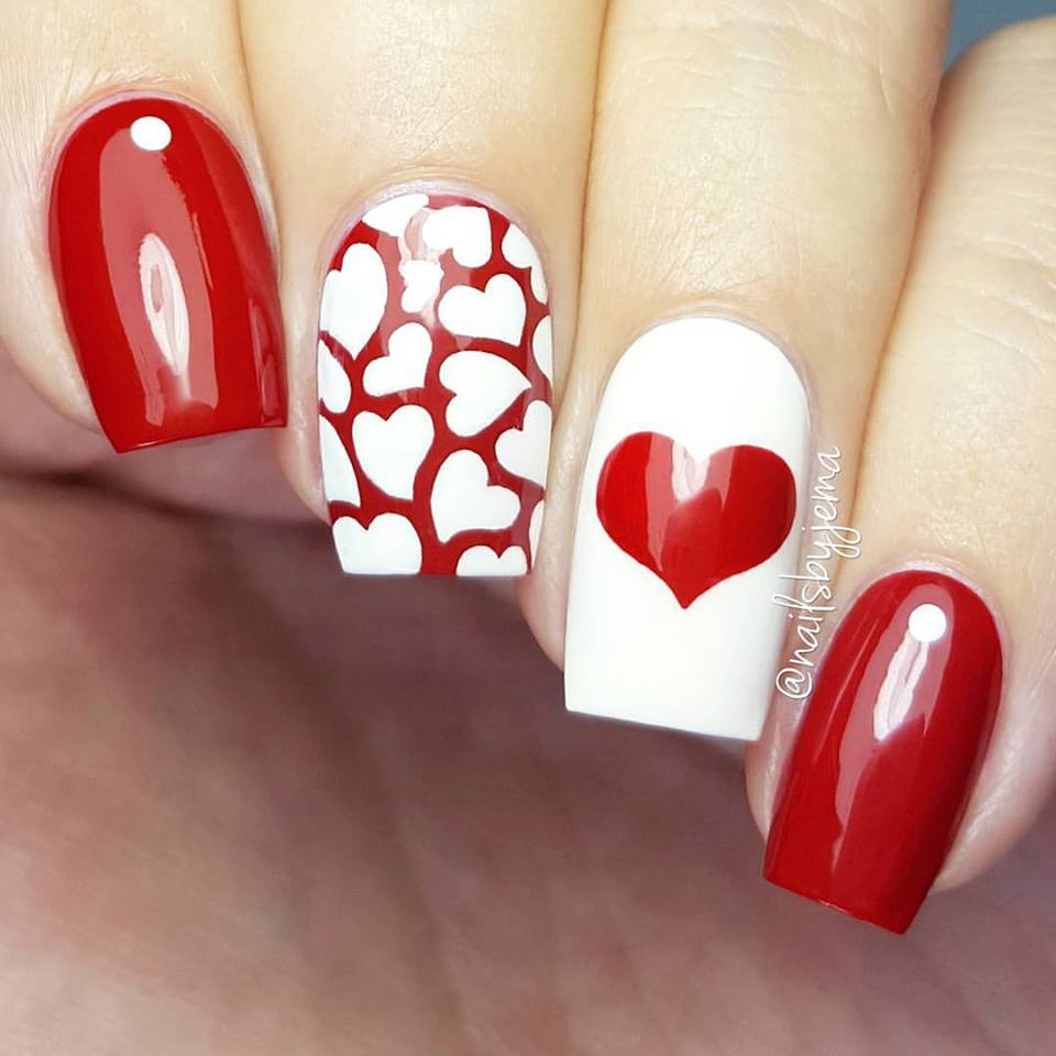 Alluring Red & White Heart Nails Design - 50+ Cute Valentine's Day Nail Art Design As A Lovely Reminder Of Love