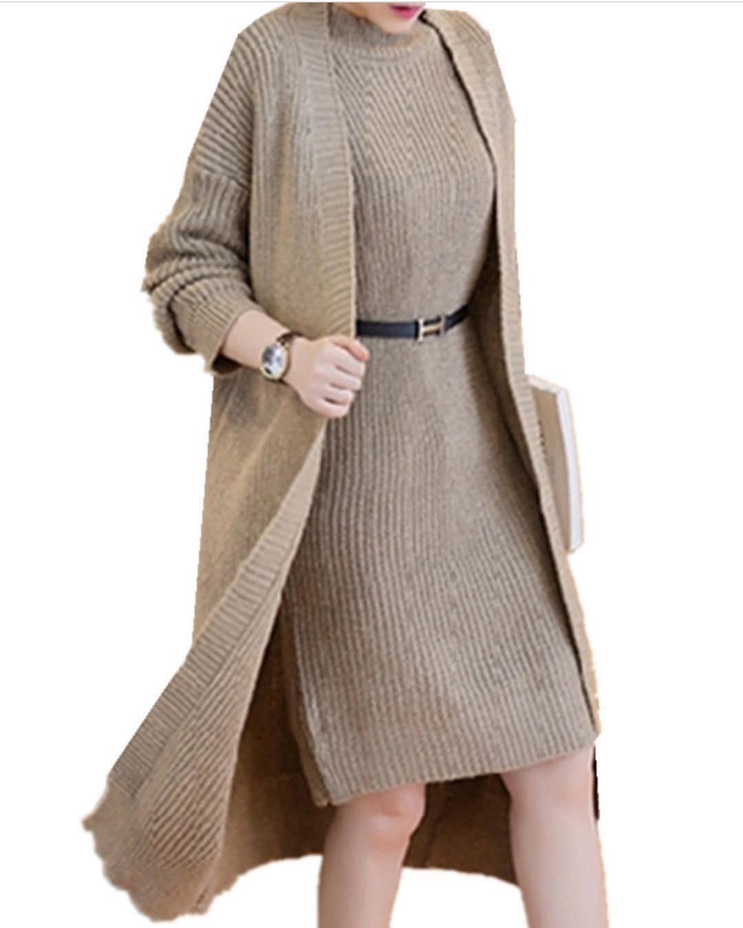 Alluring Sweater Dress With Leather Belt On Waist