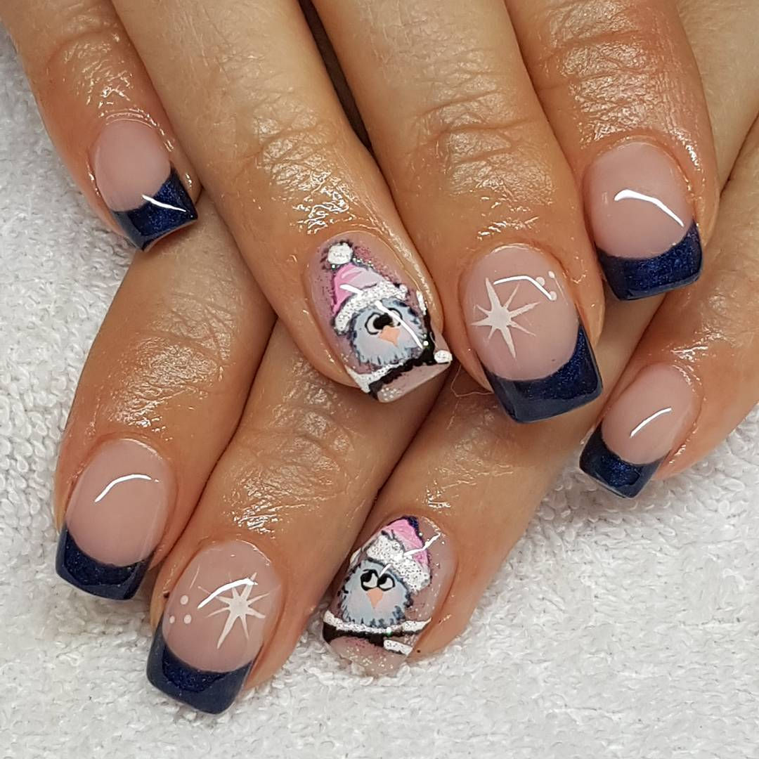 Amazing Acrylic Gel Nails With Snowman