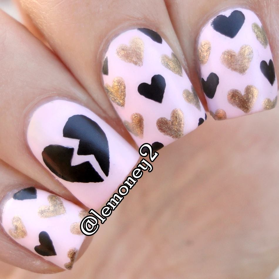 Amazing Black & Golden Broken Hearts On White