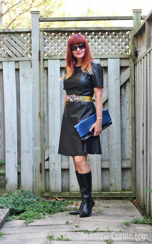 Amazing Black Leather Dress With Long Leather Shoes