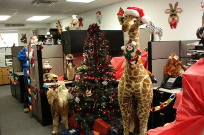 Amazing Christmas Decor In Office With Tree, Reindeer And Santa Claus