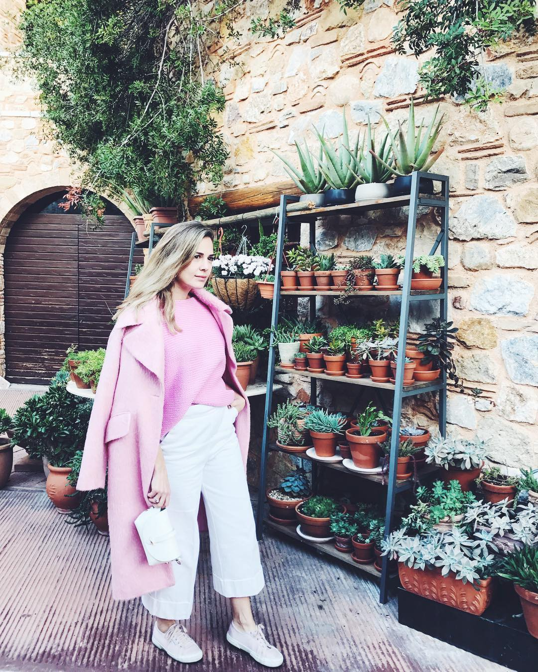 Amazing Pink Sweater, Coat With White Crop Pant