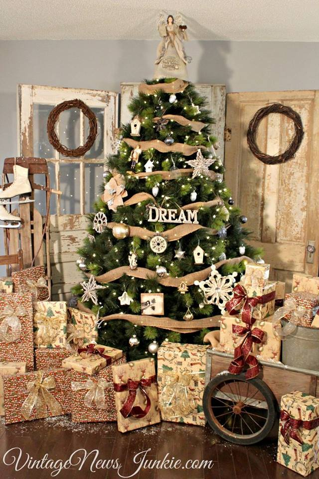 amazing vintage rustic christmas tree decor - Country Christmas Tree Decorations