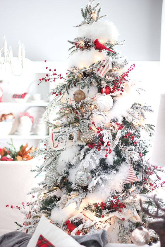 Appealing Red Cherry, Silver & Golden Balls And Laces To Decorate Christmas Tree