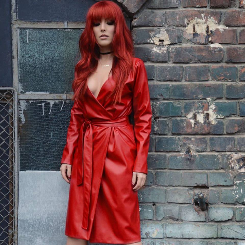 Appealing Red Wrap Leather Dress With Red Hairs