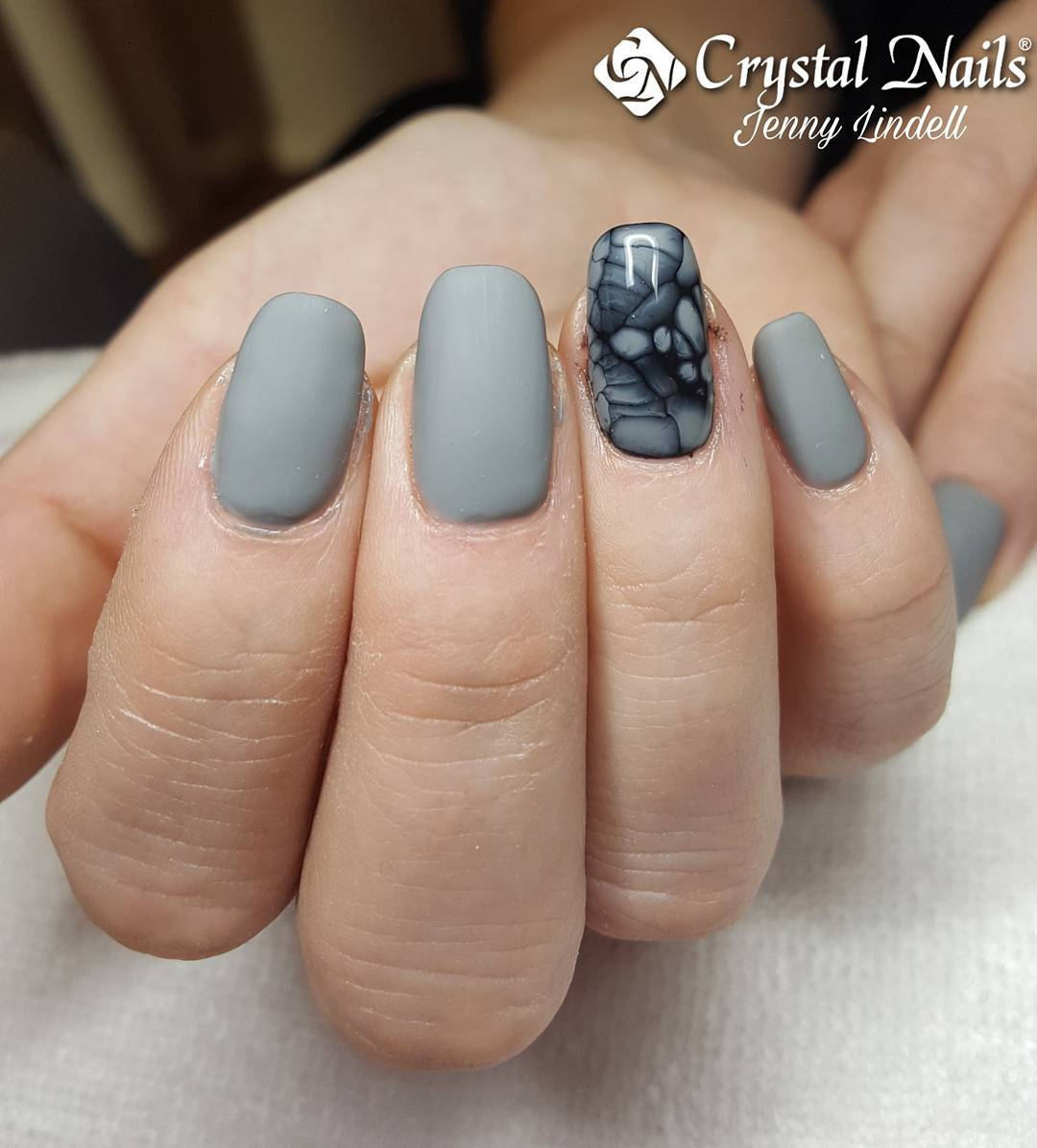 Artistic Grey Matte Nails