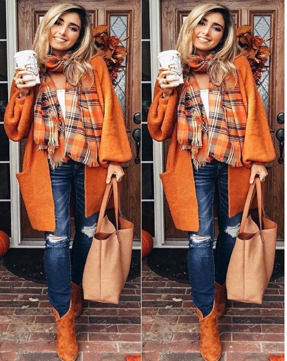 Attractive Orange Open Cardigan Paired With Ripped Jeans, Plaid Scarf And Ankle Shoes