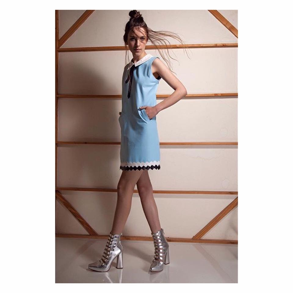 Awesome Baby Blue Leather Dress With Silver Ankle Pumps