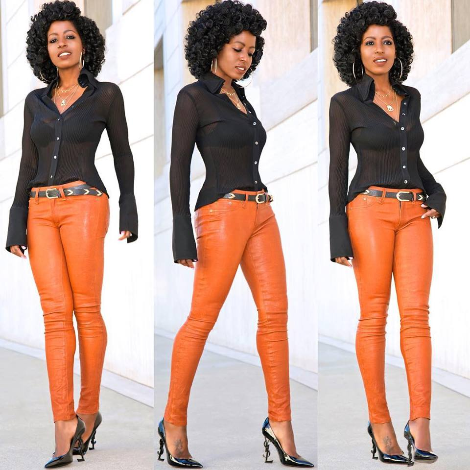 Awesome Orange Leather Pant With Black Button Down Shirt And High Heels