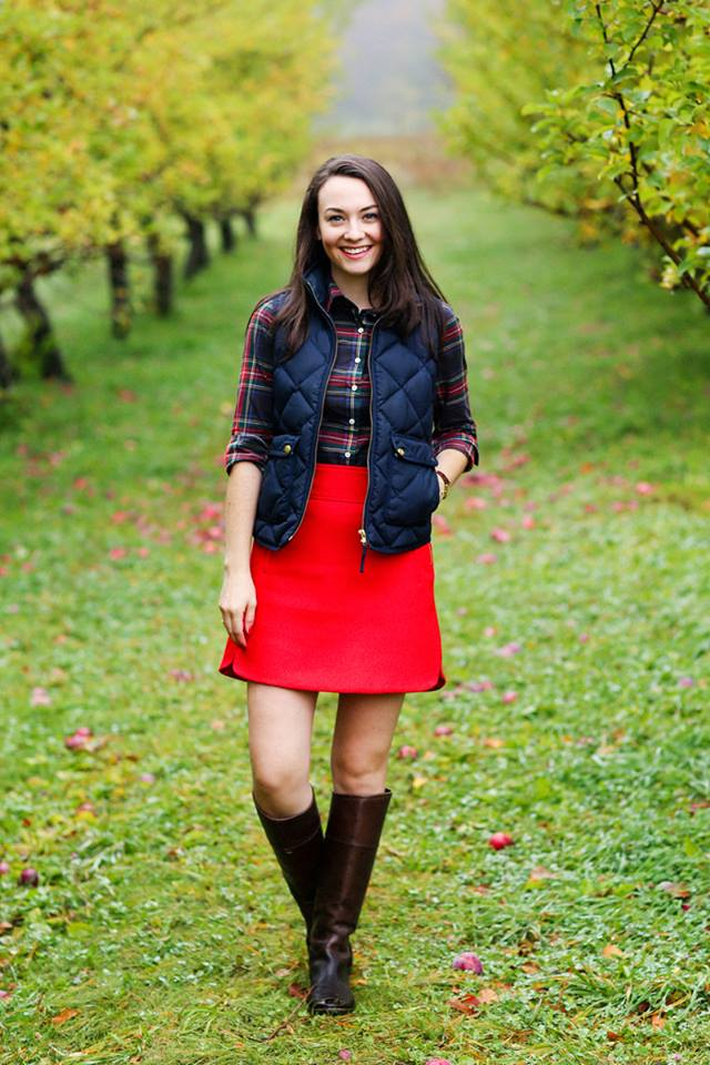 Awesome Plaid Shirt, Red Skirt With Fluffy Half Sleeve Jacket And Leather Knee Shoes