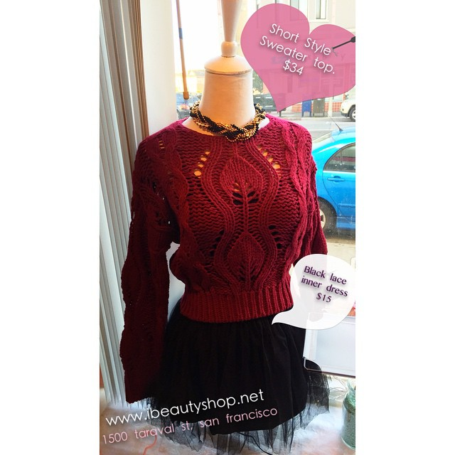 Beautiful Maroon Knit Sweater With Black Skirt