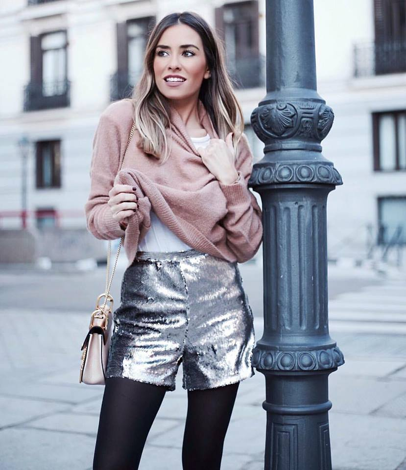 Beautiful Oversized Pink Jersey With Silver Sequins Shorts