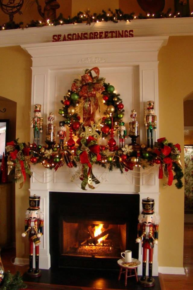 Beautifully Decorated Mantel With Colored Ornaments