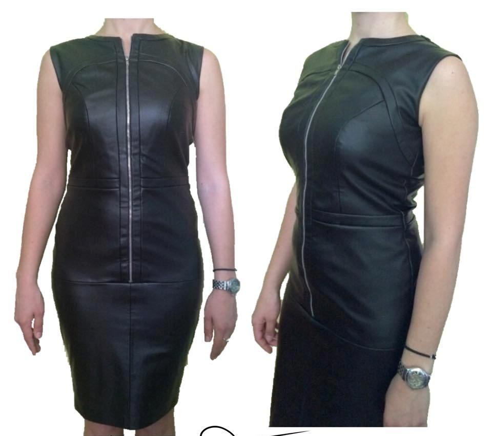 Best Black Leather Dress With Front Zip