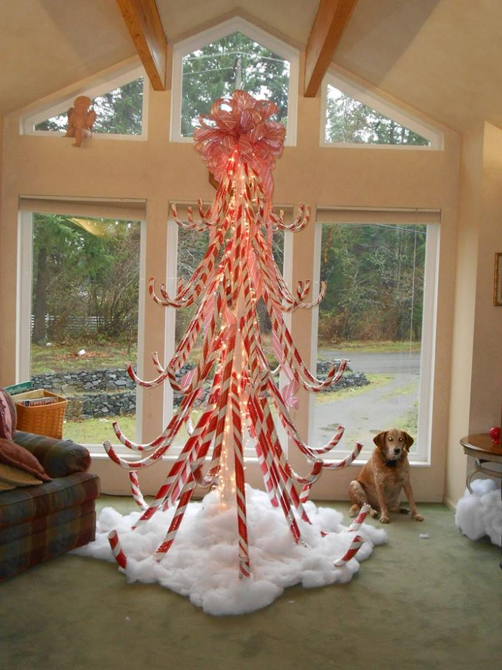 Big Candy Cane In The Shape Of Tree