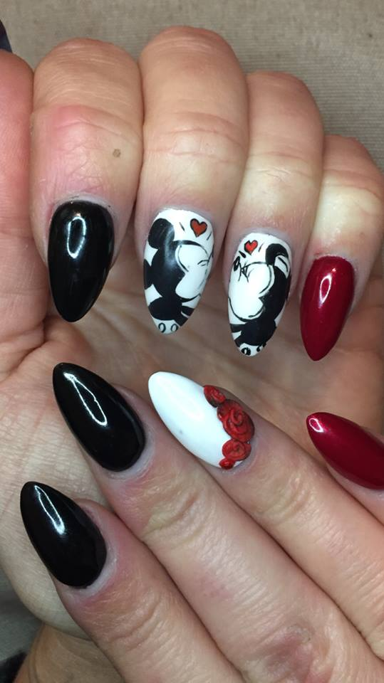 Black & Red Romantic Disney Nails