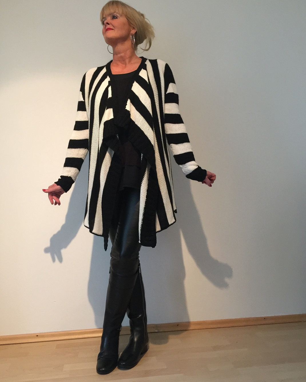 Black & White Stripes Stylish Sweater With Leather Pant