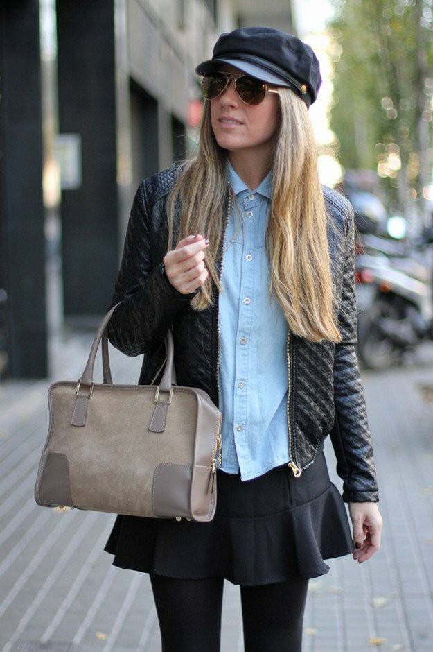 Blue Button Down Shirt, Jeans Skirt, Stockings, Cap And Leather Jacket With Handbag