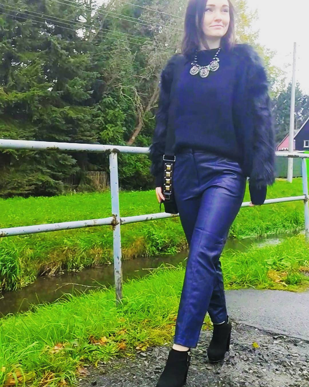 Blue Leather Pant With Matching Sweater & Nice Necklace