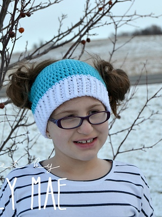 Blue With White Crochet Cap