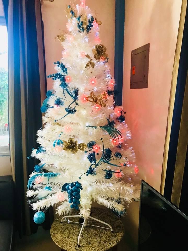 Bluish And Golden Christmas Ornaments
