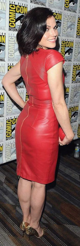 Bold Red Leather Dress With Back Zip