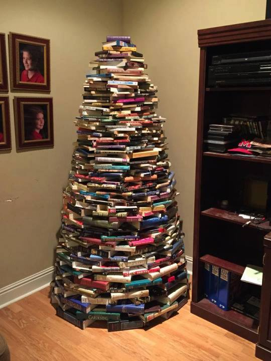 Books Stacked In Shape Of Christmas Tree