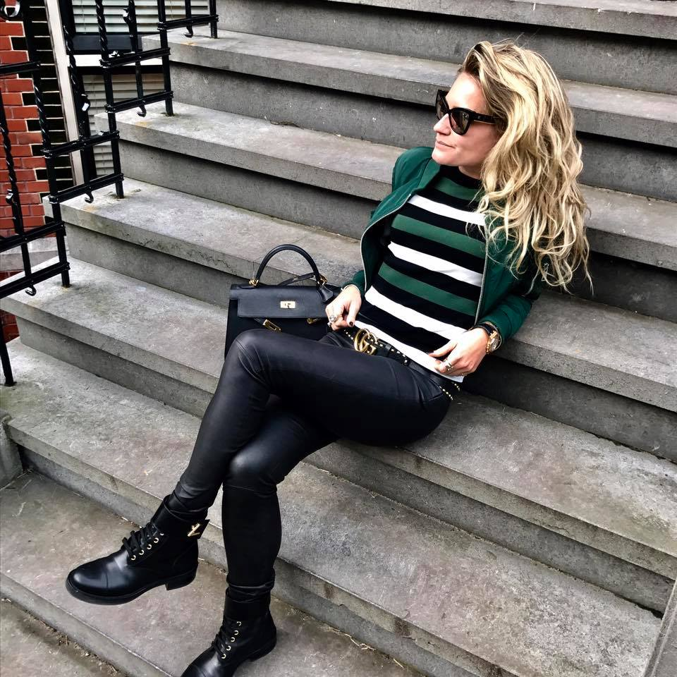 Bottle Green Jacket, Stripes Top With Leather Pant