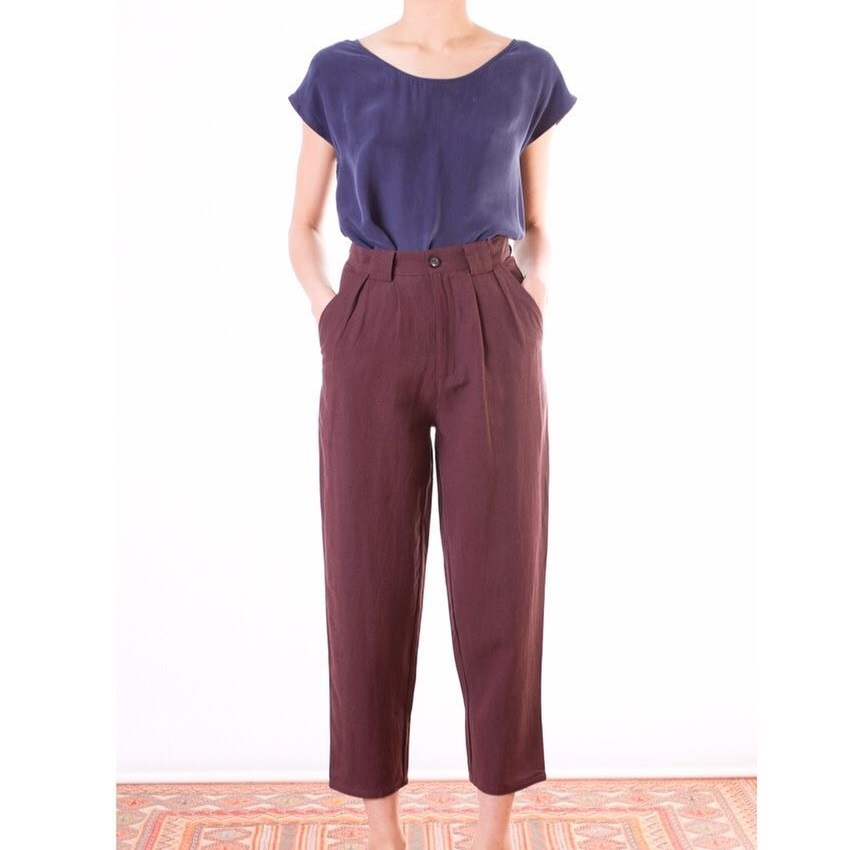 Brown Cropped Pleated Pants And Violet Cross Back Top