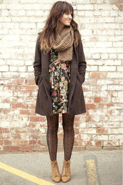 Brown Printed Dress, Stockings, Coat And Woolen Scarf