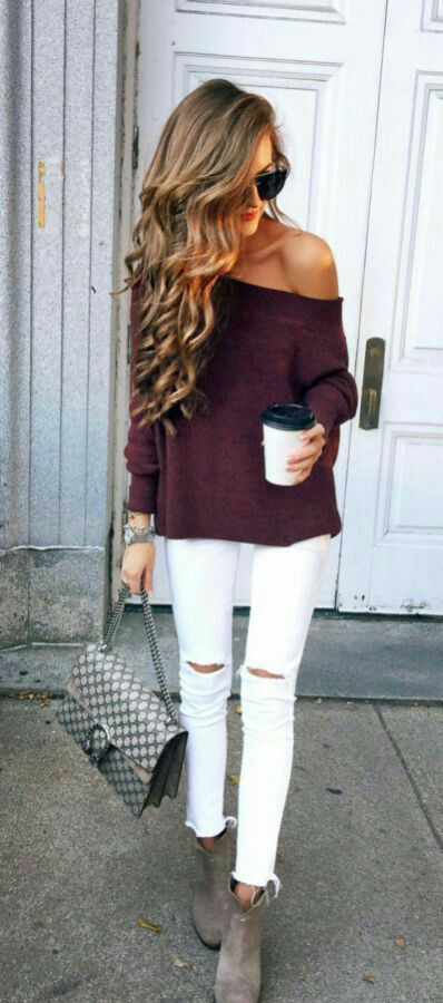 Burgundy One Shoulder Woolen Top With White Ripped Jeans