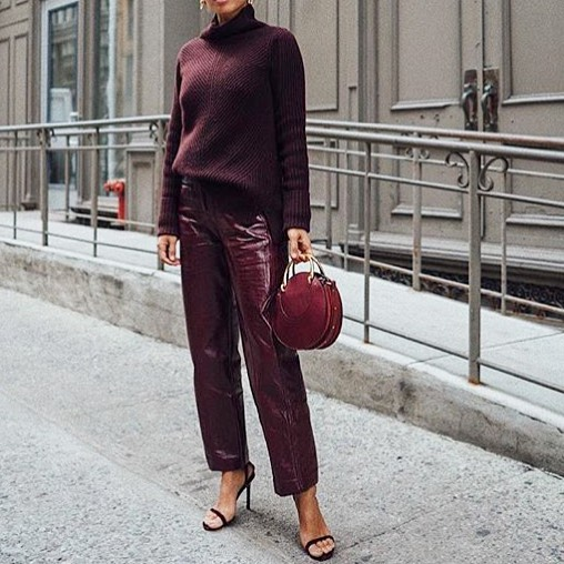 Burgundy Leather Cropped Pant With Matching Sweater