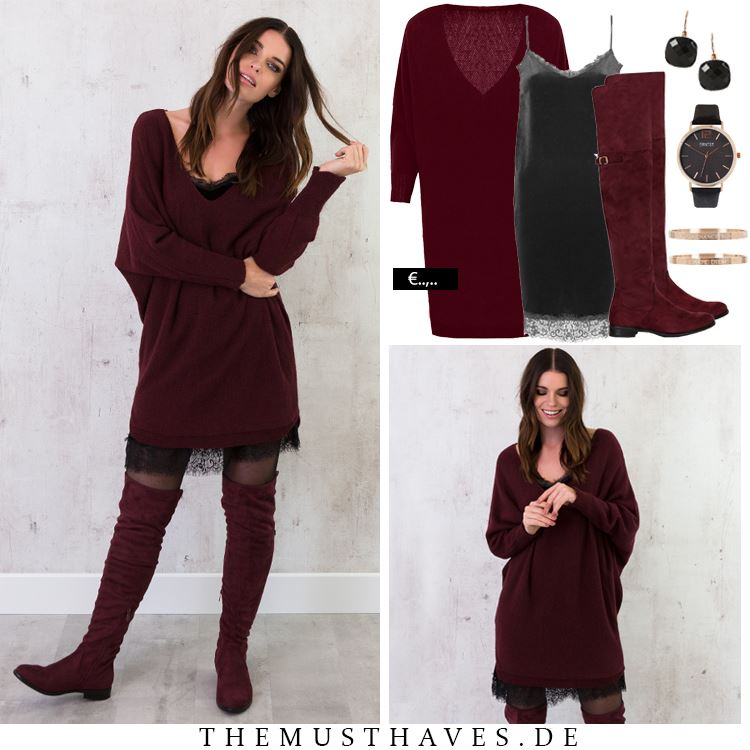 Burgundy Oversized Sweater With Matching Knee Shoes