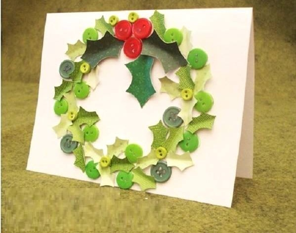 Button And Paper Cutting Wreath