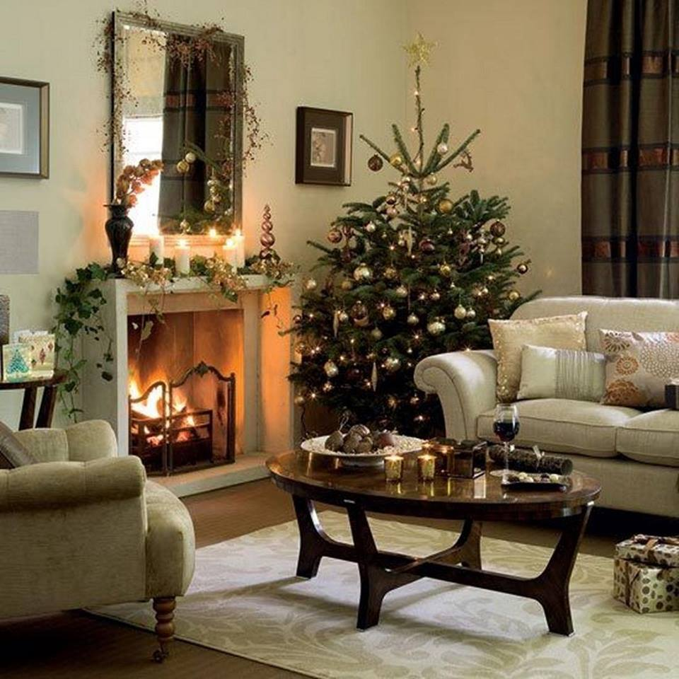 Charismatic Christmas Tree With Candles In Living Room