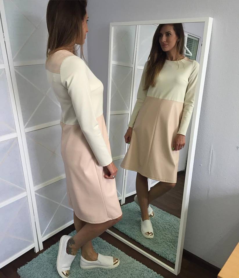 Charming Cream & Pink Full Sleeves Leather Dress