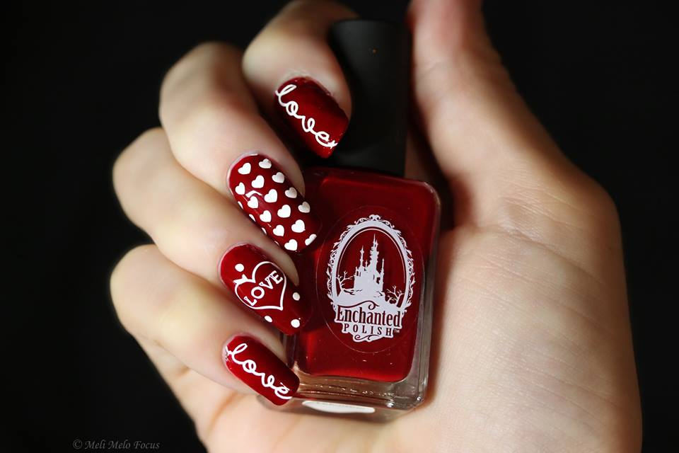 Charming White Hearts On Red Nails