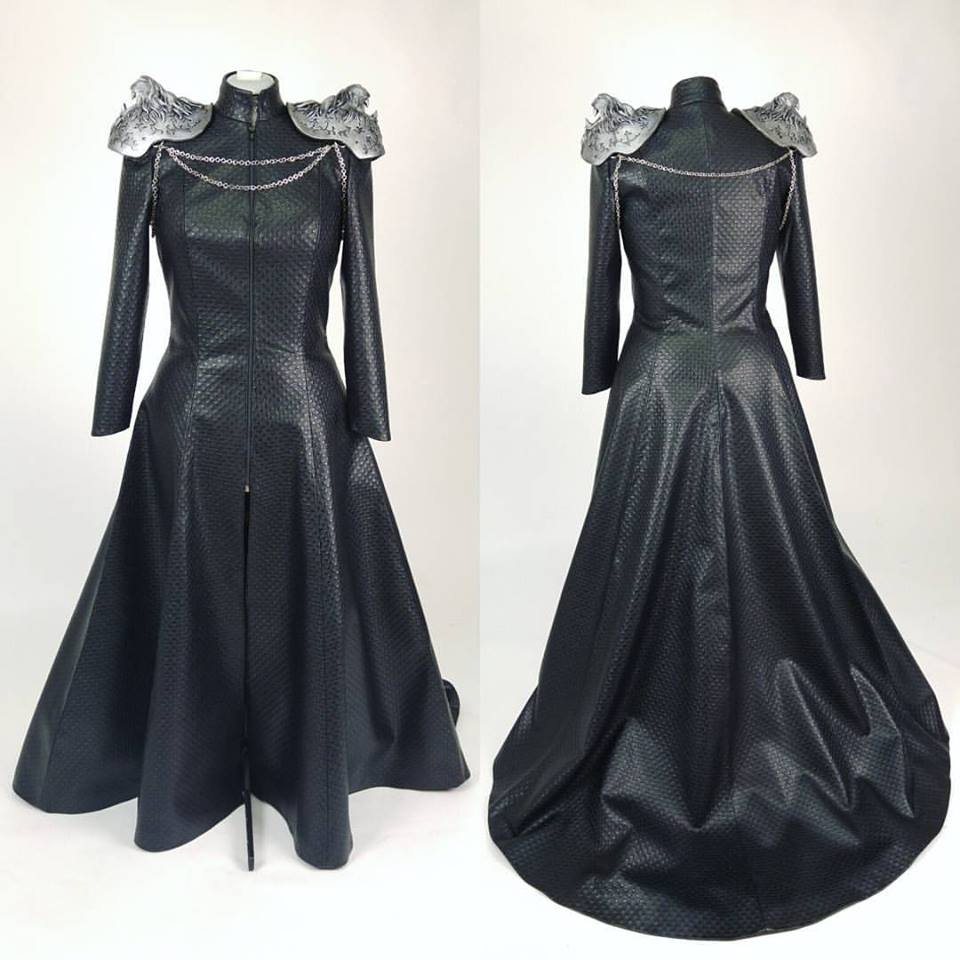 Chic Black Full Sleeves Leather Gown