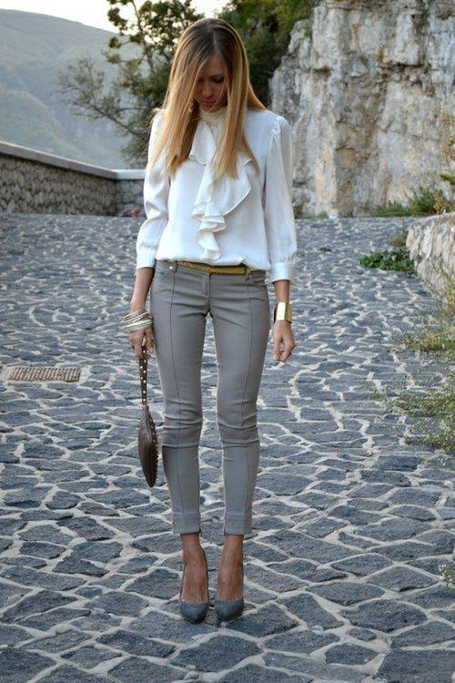 Chic Grey Pant With White Stylish Top, Matching Heels And Handbag