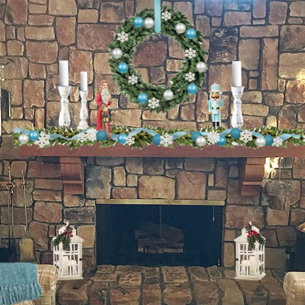 Christmas garland and wreath with turquoise and silver ornaments for mantel decoration. Pic by sawdust.interiors