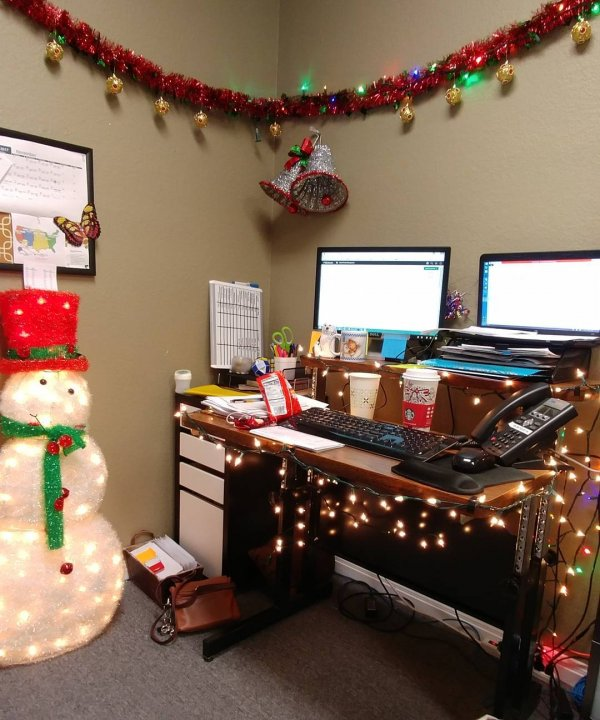 Christmas Lights Bell And Snowman Office Decoration For Pic By Redrimmed