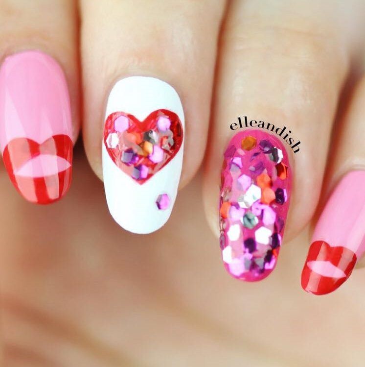 Chunky Glitter Heart Nails Design
